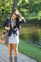 blue Zara blazer - beige Burberry scarf - black Mango glasses