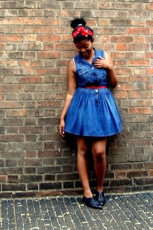 red scarf - red belt - black warehouse shoes - blue Miss Selfridge dress