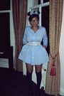 Blue-american-apparel-dress-black-new-look-socks-pink-primark-belt-black-u