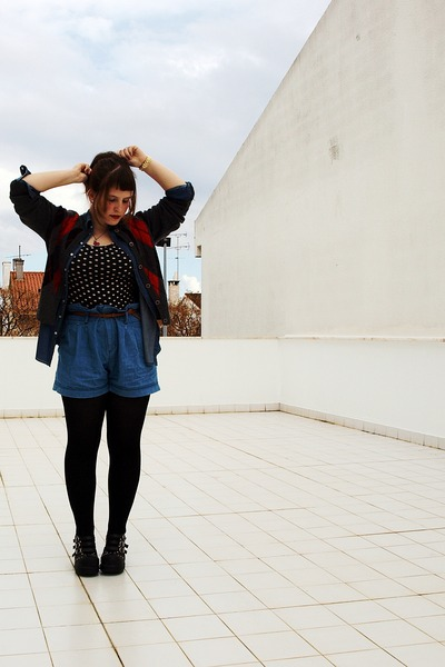 denim shirt EDC shirt - Zara shorts - vintage cardigan - Demonia heels - gold Mi
