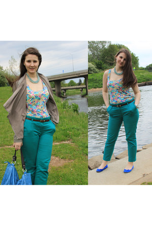 new look jacket - floral warehouse top - Dorothy Perkins necklace - Zara pants