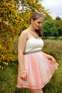 White-h-m-dress-pink-organza-my-design-skirt-tan-dorothy-perkins-necklace