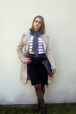 Camaeu scarf - Zara coat - H&amp;M top - new look skirt - new look belt - Lancel wal