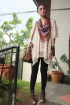 light pink poncho H&M blouse - dark brown gladiator heels figliarina shoes