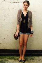 heather gray fuzzy Pink Manila cardigan - cut-off shorts - black Lux top