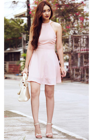 light pink halter Missguided dress
