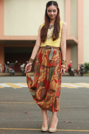 brick red aztec print vintage skirt