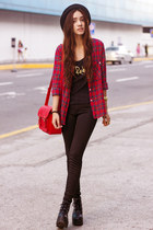 black platform Wholesale 7 boots - ruby red tartan Kate-Katy top