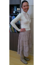cream georgette AIAJAN JAXYBAI shirt - AIAJAN JAXYBAI skirt - Twin Set cardigan