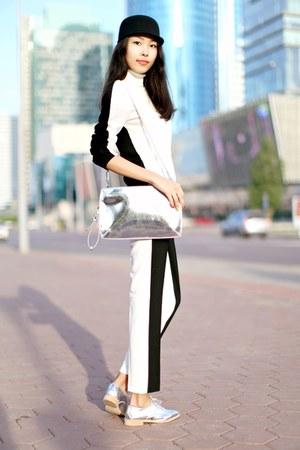 black Forever 21 sweater - silver Zara boots - Topshop hat - silver Zara bag