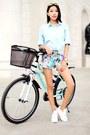 Aquamarine-zara-shorts-bubble-gum-triwa-watch-light-blue-chicnova-blouse