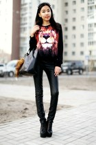 black Jeffrey Campbell boots - black Udobuycom sweater