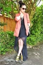 salmon over-sized Forever 21 blazer - black H&M skirt