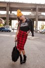 Gold-beanie-target-hat-black-biker-h-m-jacket-red-asos-skirt