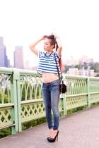 light pink Aldo watch - blue skinny free people jeans