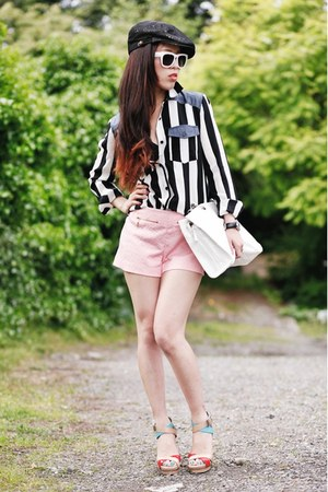 white striped Forever 21 shirt - black newsboy cap from japan hat