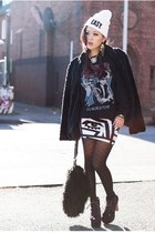 black faux fur H&M coat - deep purple lita Jeffrey Campbell boots