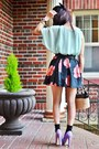 Light-blue-sheer-topshop-top-bubble-gum-flowered-print-thrifted-skirt