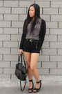 Cole-haan-bag-forever-21-shorts-h-m-blouse-h-m-wedges-h-m-cardigan-thr