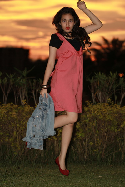 denim jacket with dress. pink dress dress - denim