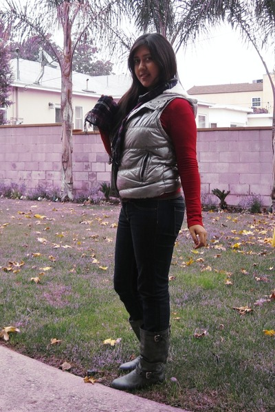 silver thrifted Old Navy vest - Frye Veronica Slouch boots - Forever 21 jeans