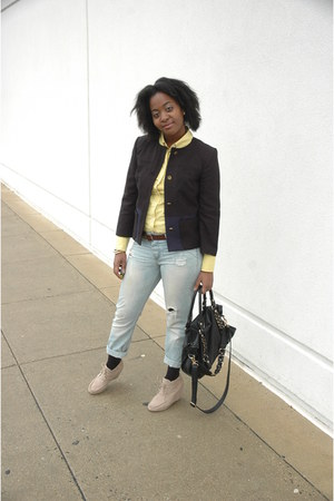light blue unknown jeans - camel Target boots - black H &amp; M blazer - unknown bag