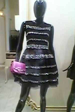 black RED valentino dress - bubble gum leather Jimmy Choo bag