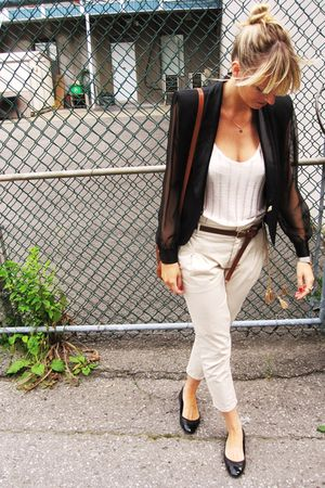 black vintage blazer - black Chanel shoes - beige Zara pants - white Zara top -