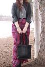 Black-bongo-thrifted-jacket-black-seychelles-boots-maroon-pacsun-dress