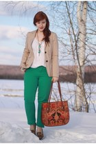 green sears jeans - beige Gap blazer - tawny thrifted bag
