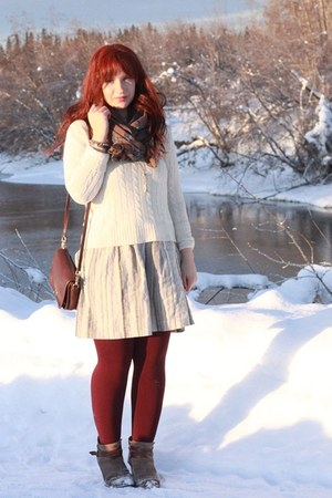 white cashmere George sweater - DV by dolce vita boots - Forever 21 dress
