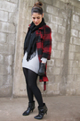 Red-gap-coat-black-vintage-scarf-gray-lacoste-dress-black-coach-gloves-b