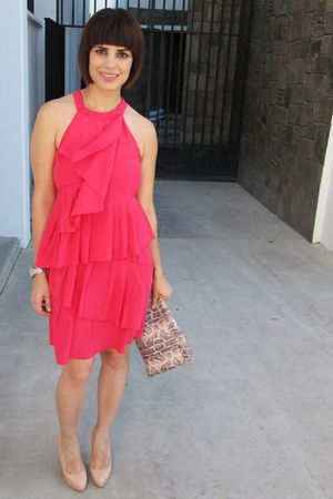 BCBG dress - Furla purse - Christian Louboutin shoes