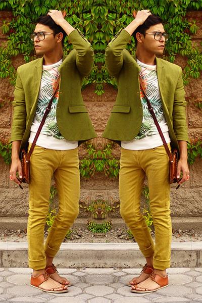 brown Tascani sandals - olive green H&M blazer