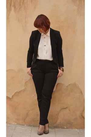 silk vintage shirt - black Mango blazer