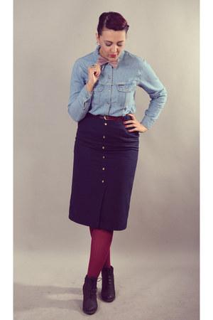 navy vintage skirt - sky blue vintage denim Marc OPolo shirt - tie