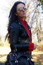 Black-no-name-boots-black-new-yorker-jacket-ruby-red-secondhand-sweater