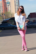 bubble gum Zara jeans - sky blue Aldo bag