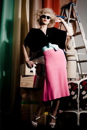black sunglasses - bubble gum skirt - aquamarine obi belt - white wedges