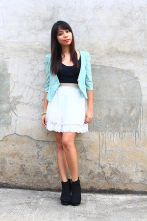 aquamarine blazer - black wedge Christian Siriano for Payless boots