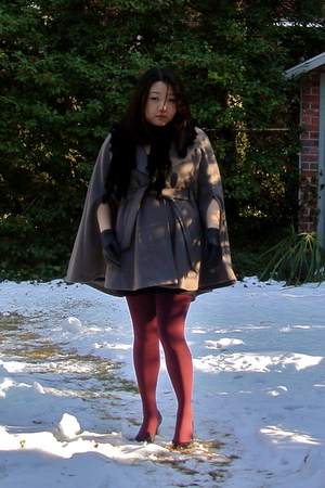 gray Mossimo coat - black Belle Fare scarf - black H&amp;M dress - red HUE stockings