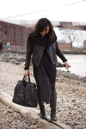 born boots - Alexander Wang dress - faux shearling Simply Vera Vera Wang jacket