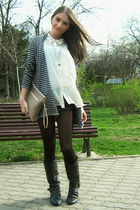 black Mango shorts - white H&M shirt - heather gray Atmosphere cardigan