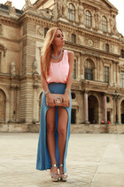 turquoise blue skirt - bubble gum top