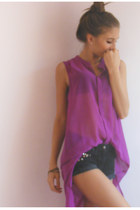 light purple threadsence shirt - black shorts