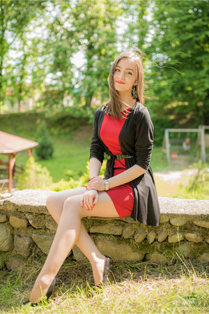 red poema dress - black meli melo bracelet - black New Yorker cardigan