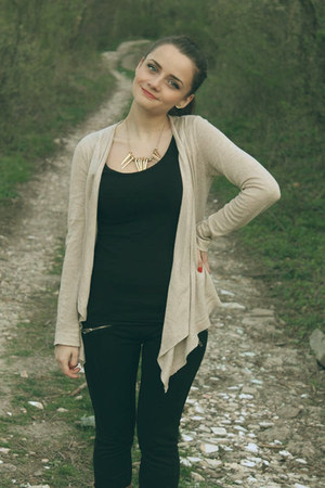 Bershka jeans - Stradivarius shirt - H&M earrings - Bershka cardigan