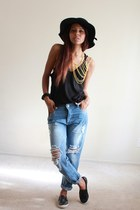 light blue boyfriend jeans Spicy Avenue jeans - black wide brim Calico hat