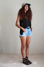 Off-white-floral-the-quiet-life-hat-sky-blue-jeans-thrifted-vintage-shorts