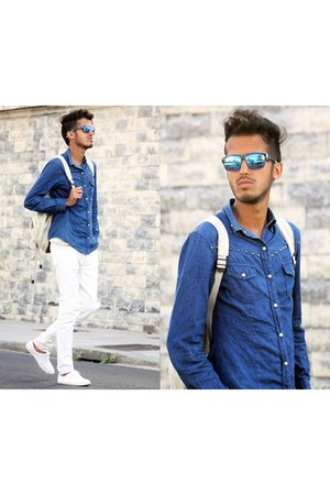 blue denim Place du jour shirt - white Zara bag - blue ray-ban sunglasses